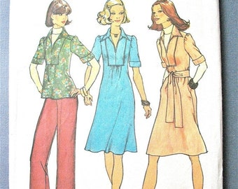 SALE 20% OFF Simplicity 7049 ©1975  Misses' One-Piece Dress or Top and Pants Vintage Sewing Pattern Bust 34