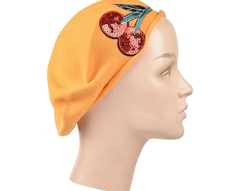 Ladies Pumpkin Cotton Beret w/Embroidered Two Red Cherries Stylish Fashionable Comfy Cotton Women's Beanie Hat Ladies Tam