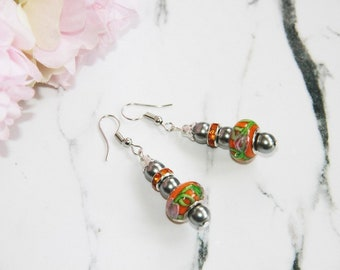 Earrings green rhinestones and orange glass bead earring