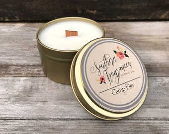 Camp Fire Soy Candle | Wood Wick Candle | 6oz Travel Soy Candle | Man Candle