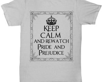 Pride and Prejudice Jane Austen Tshirt, Literary Shirt, Austen Clothing, Austin, Jane Austen Gift, Literary Tshirt, Jane Austen Fan, gray