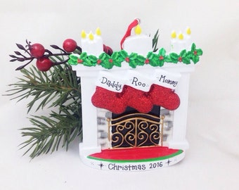3 Stockings by the Fireplace Family Personalized Christmas Ornament / Personalized Ornament / New Baby Ornament