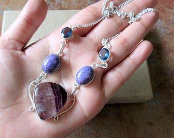 Fancy Shaded Purple Onyx Necklace/Delicate Gemstone Silver Necklace, Bib Necklace, Everyday Wear Jewelry GN203