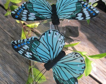 2- BLUE AQUA Feathers  Butterflies Hair Clips for weddings