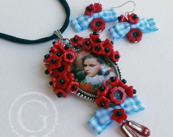 Recycled Image Beaded Pendant - Dorothy Poppies Ruby Slippers Blue Gingham Silk Necklace Earrings Set