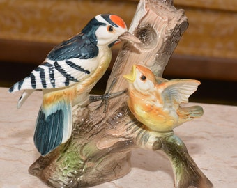 Porcelain Mama Bird and Baby Chick Figurine