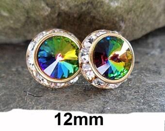 12mm Vitrail Medium & Gold Surrounds Rhinestone Stud Earrings, VM Crystal Studs, Large Rainbow Crystal Stud Earrings
