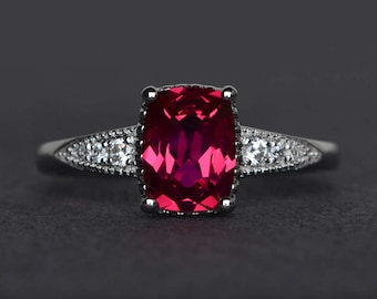 cushion cut ruby ring sterling silver ring ruby engagement ring promise ring red gemstone ring July birthstone