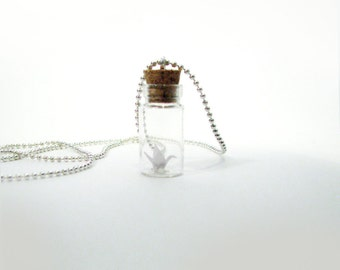 Miniature Origami Crane Vial Bottle Pendant White Crane Bottle Necklace