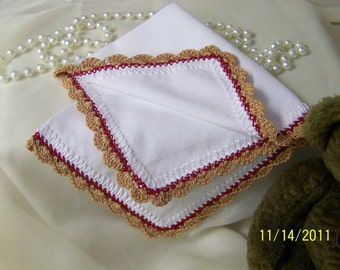 Western Wedding, Handkerchief, Hanky, Hankie, Hand Crochet, Personalized, Monogrammed, Embroidered, Bridesmaids Gift, Bridal Party Gift, Red