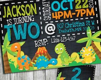 dinosaur birthday invitation, dinosaur invitation, dinosaur party invitation, dinosaur birthday, chalkboard invitation, printable