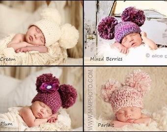 Newborn Baby Hat, Crochet Double Pom Pom Hat, Crochet Baby Hat, Baby Pom Pom Hat, Baby Double Pom Pom, Newborn Boy, Newborn Photography Prop