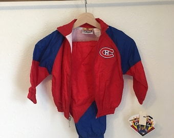 Montreal Canadiens windbreaker set, Habs Track Suit, vintage 90s windbreaker, Montreal Canadiens Jacket