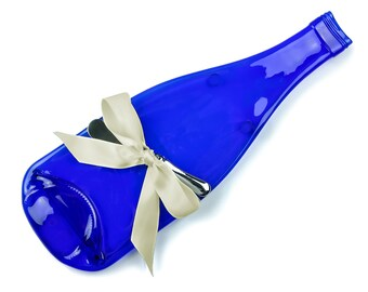 Cobalt Blue Melted Wine Bottle Cheese Tray, Blue Glass Collector, Something Blue, Gift for Mom, Flattened Bottle, Slumped Bottle