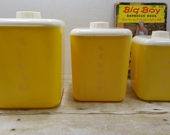 Set of Three Lusterware Canisters, READ DESCRIPTIONS, 1950s-1960s, yellow canisters