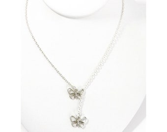 Mothers Day Gift for Mom, Butterfly Lariat Necklace, Dainty Butterfly Jewelry, Teen Jewelry, Mother Daughter, Spring Jewelry,