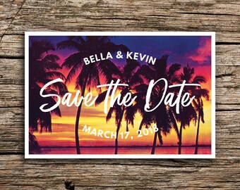 Tropical Sunset Save the Date Postcards // Tropical Wedding Save the Dates Palm Postcard Sunset Beach Florida Mexico California Hawaii
