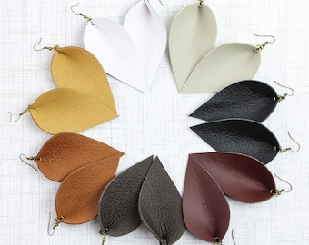 Leather Leaf Earrings, Joanna Gaines from Magnolia + Fixer Upper Style, You Choose Color, Zia Style Leather Earrings, Gifts for Her