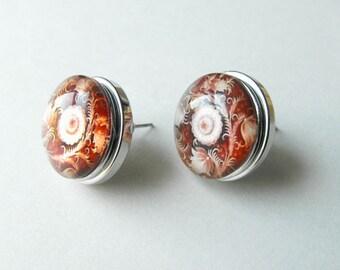 Romantic Floral Earrings ~ Glass and Metal Snap Stud Earrings - Oval Interchangeable Snap Jewelry by ElleBelleArt