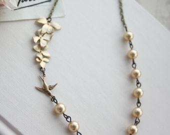 Gold Orchid and Swallow Bird Necklace. Orchid, Yellow Gold Pearls Necklace. Bridesmaid Gift. Gold Wedding Jewelry. Ivory Pearl & Gold Orchid
