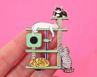 Cat Tree pin - XL - scratching post - cats - cat perch - cat gift - cat lover - crazy cat lady - pin badge -  lapel pin - enamel pin