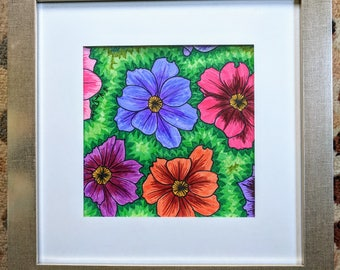 Floral Burst Wall Art (Framed)