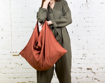 Linen tote bag, linen bag, linen handbag, beach tote, summer bag, canvas tote bag, boho bag, tote bag canvas, shopping bag, linens/LT0002