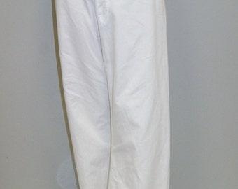 Vintage 1920's Men's Great Gatsby Era White Cotton Wide Leg Pants - 30 Waist x 30 Inseam