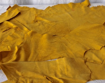 Mustard Yellow Garment Suede Split Hide Pieces Scrapes 7 Ounces Leather Crafts