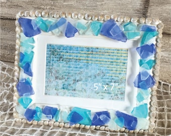 Beach Glass Photo Frame, Beach Decor, Beach Glass Picture Frame, 5 x 7 Beach Glass Frame
