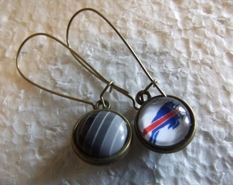 Buffalo Bills  Fan  Two sided Reversible  Earrings Bling and Buffalove  Dark rainbow Gray Monotones