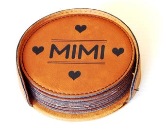Gift for Mimi - Grandma Gifts - Grandmother Personalized - Leather Coasters - Mother's Day - Birthday Gift, CAS010