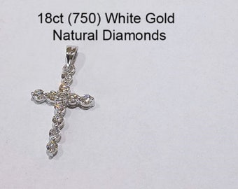 18ct 750 White Gold Natural Diamond Crucifix Cross Pendant