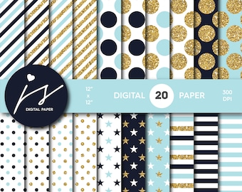 Baby blue and Navy blue gold glitter digital paper, Patterns, Backgrounds, Navy blue and Baby blue glitter gold digital scrapbooking, MI-766