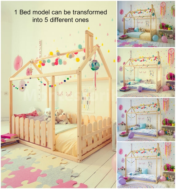 Kids Furniture Toddler Bed House Bed Crib Bed House Floor Bed Frame Bed  Play Bed Teepee Bed Tent Bed Montessori Bed Kids Bed Frame SLATS