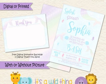 Mermaid Birthday Invitations| Under the Sea Invitations| Mermaid Invitations| Party Mermaid Decor| Mermaid Birthday| Mermaid Invite| Mermaid