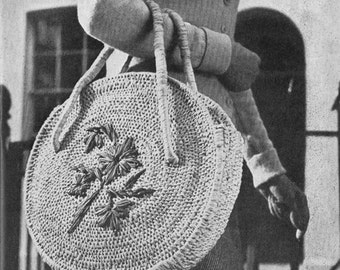 Vintage 1948 Raffia Shopping Bag Pattern Tutorial - digital download