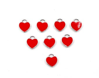 8 Red Enameled Valentine's Day Heart Charms - 21-27-7