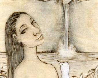 Waterfall-Spirit, Hawaii print, nature, bird print, Art Print, Ready to Hang, Canvas, 10x20