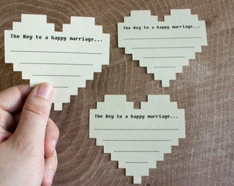 8 Bit Wedding Advice Cards - Nerdy Bridal Shower Game - Marriage Advice Cards