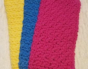 Set of 3 Crochet 100% Cotton Dishcloths Crochet Washcloths