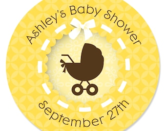 24 Neutral Carriage Circle Stickers - Personalized Baby Shower DIY Craft Supplies