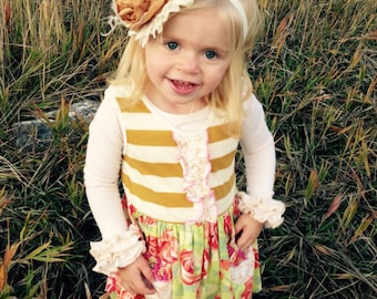 Mustard and Cream over the top headband, couture headband, over the top bow, baby headband, flower headband, gold headband, fall headband