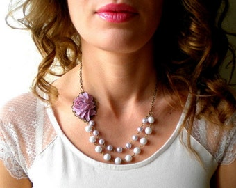Purple Statement Necklace Will You Be My Bridesmaid Gift Pearl Bridesmaid Necklace Bachelorette Party Gift Bridal Shower Necklace