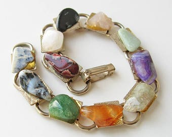 Vintage polished stone bracelet, 1960s jewelry, assorted stone bracelet