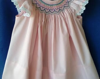 Handsmocked heart dress size 12 months