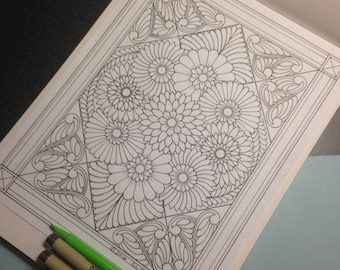 Beautiful Botanical Ornamental Bouquet #11 - Coloring Page