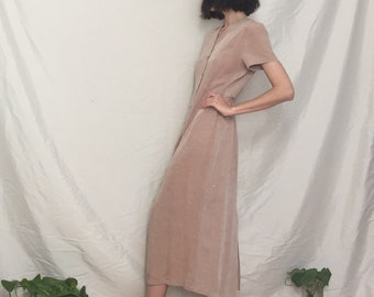Pale Pink French 90s Minimalist Linen Dress, small to medium