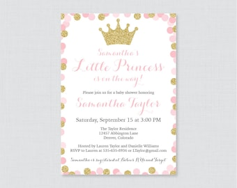 Little princess pink and gold baby shower invitation princess princess baby shower invitation printable or printed pink and gold glitter princess themed baby shower filmwisefo Gallery