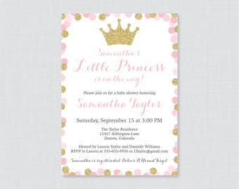 Princess Baby Shower Invitation Printable Or Printed   Pink And Gold  Glitter Princess Themed Baby Shower